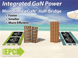 Efficient Power Conversion (EPC) Introduces Monolithic Gallium Nitride Power Transistor Half Bridge Enabling over 97% System Efficiency for a 48 V to 12 V Point of Load Converter at 22 A Output