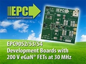 Development Boards with 200 V eGaN FETs from Efficient Power Conversion (EPC) Enable High Efficiency up to 30 MHz
