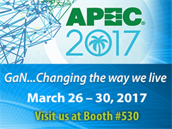 Efficient Power Conversion (EPC) to Showcase Life-Changing Applications Using eGaN Technology at 2017 Applied Power Electronics and Exposition Conference (APEC)