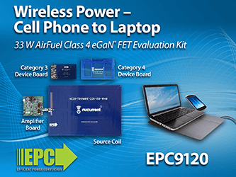 Charge Cell Phones to Laptops Simultaneously – EPC Introduces Complete Class 4 AirFuel Alliance Compatible Wireless Power Demonstration Kit Capable of Transmitting up to 33 W