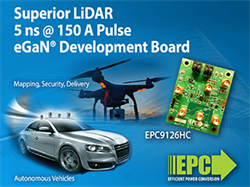 150-Ampere LiDAR Development Board Can Deliver 5 Nano Second Pulses Using eGaN Technology From EPC