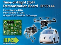 Time-of-Flight (ToF) Demonstration Board Drives Lasers with Currents up to 28 A with 1.2 Nanosecond Pulses Using Automotive Qualified eGaN Technology