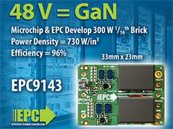 EPC and Microchip Develop 300 W 16th Brick, 48 V – 12 V DC-DC Converter Demonstration Board for High-Density Computing and Data Centers