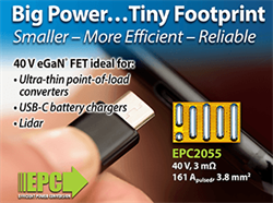 Efficient Power Conversion (EPC) Launches 40 V eGaN FET Ideal for High Power Density Solutions for USB-C Battery Chargers and Ultra-thin Point-of-Load Converters