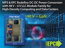 MPS & EPC Redefine DC-DC Power Conversion with 48 V – 6 V LLC Module Family for High-Density Computing and Data Centers