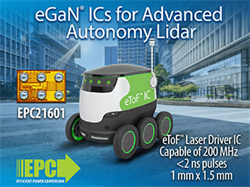 Efficient Power Conversion (EPC) Revolutionizes Lidar System Design with Release of eToF Laser Driver IC Family of Products