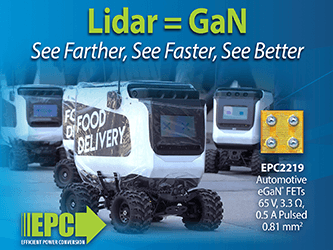 EPC Automotive Qualified 65 V eGaN FET Enables Higher Resolution for Lidar Systems