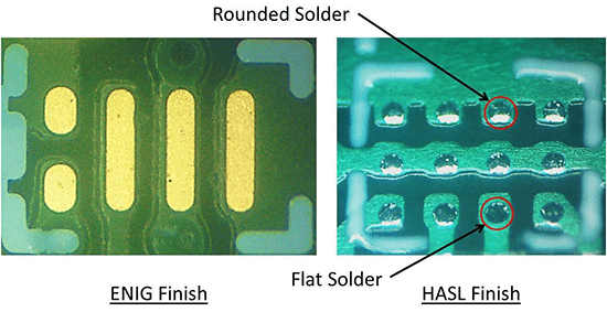 ENIG finish versus HASL finish showing uneven solder heights