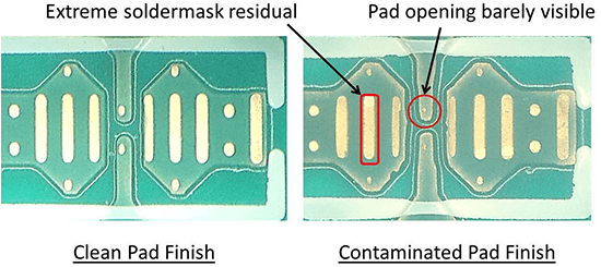 Examples of a contaminated pad versus clean pad