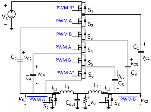 Schematic diagram of the 6-to-1 dual inductor hybrid converter