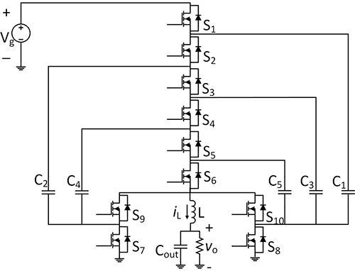 Schematic diagram of the 6-to-1 hybrid Dickson converter