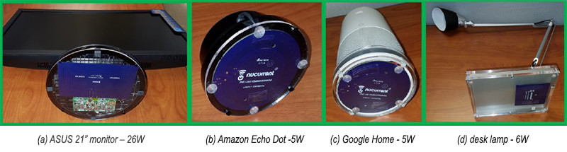Fig. 4. Small and inexpensive antennas are used as power receivers for the variety of loads powered wirelessly. Those shown here include an ASUS 21-in. monitor (a), an Amazon Echo Dot (b), a Google Cortana (c) and a desk lamp (d).