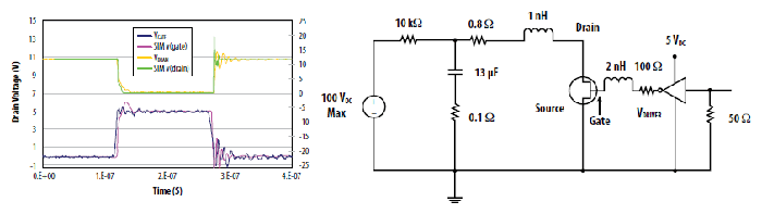 Circuit diagram and oscillogram comparing EPC1001 TSPICE simulation results