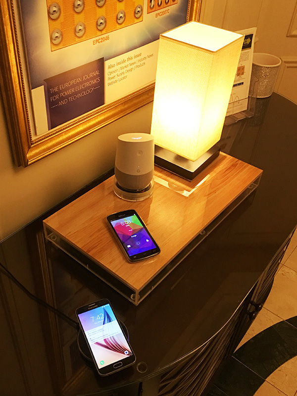 The EPC Hospitality and Demonstration Suite featured a 60 W, large surface area wireless power demonstration.